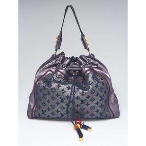 LOUIS VUITTON Python Purple Monogram Lurex Exotic Snakeskin Bluebird LV Hand Bag